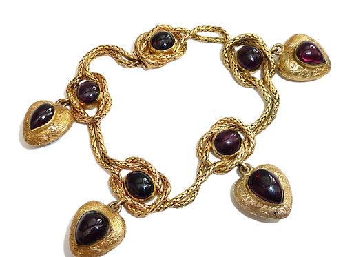 Victorian 18 Carat Garnet Heart Bracelet