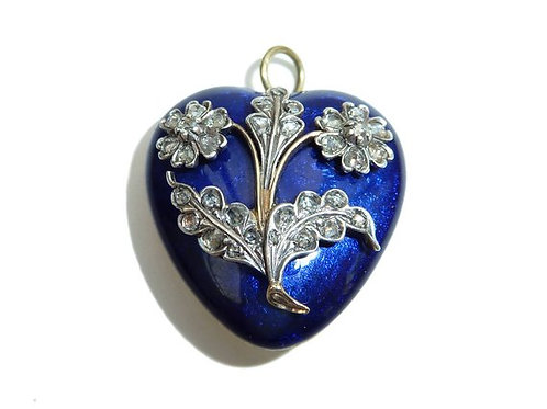 Victorian Blue Enamel Heart Locket With Silver, Rose Cut Diamond Flower Design