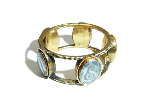 Unusual Georgian Mourning Ring With Five Hair Initialled Lockets