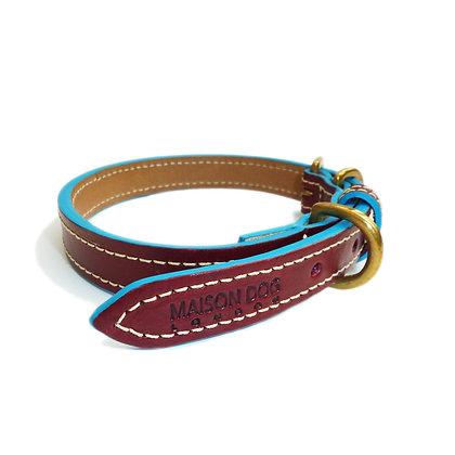 Maison Dog Collar - Oxblood/Turquoise