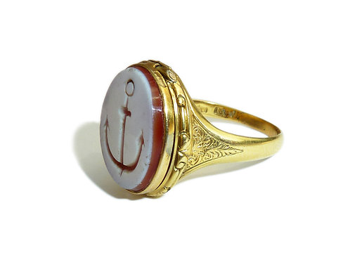 Late Victorian 15 Carat Sardonyx Agate Ring With Anchor Intaglio And Locket Comp