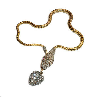 Rare Rose Cut Diamond Snake Necklace, Di