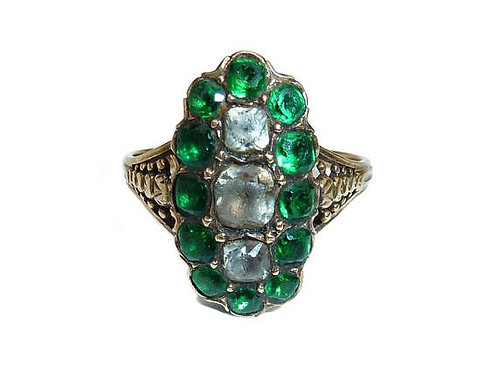 Georgian Emerald And Diamond Colour Paste Stones Navette Ring