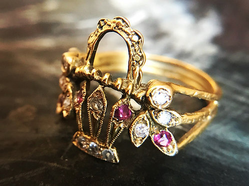 Late Victorian Basket Of Flowers Ring Circa 1890, With Rubies And Diamonds