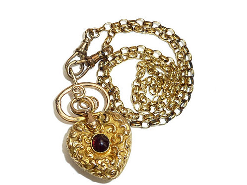 Victorian 15 Carat Gold Heart, Coiled Snake With Garnet Cabochon Locket Pendant