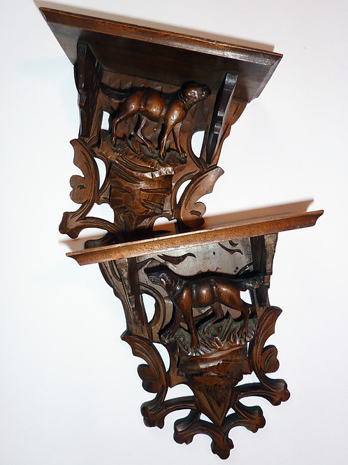 Black Forest Shelves with Carved Hunting Dogs