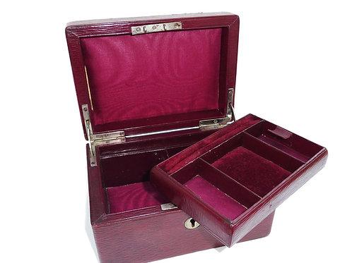 Gorgeous Burgundy Leather 1920's Jewelry Box