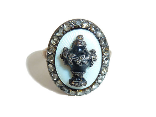 Stunning White Guilloche Enamel Georgian Urn Ring With Rose Cut Diamond Halo