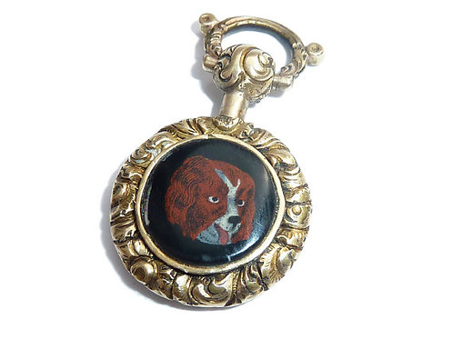 Antique Victorian Gold Enamelled Spaniel Charm