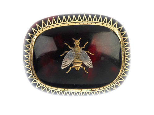 Victorian Brooch With Inlaid Insect Detail