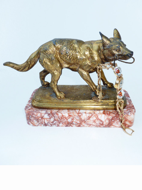 Antique French Gilt Hound Watch Holder