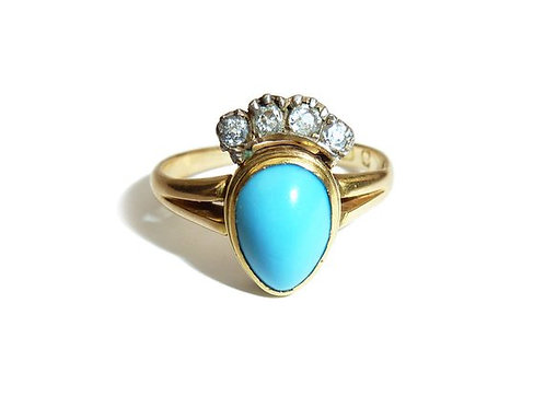 Georgian Turquoise And Diamond Crowned Heart Locket Ring - Mourning Ring