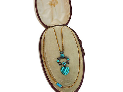 Victorian Pave Set Turquoise Gold Pendant by Howell James & Co, Circa 1860