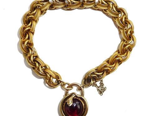 Victorian 15 Carat Bracelet With Garnet Snake Padlock