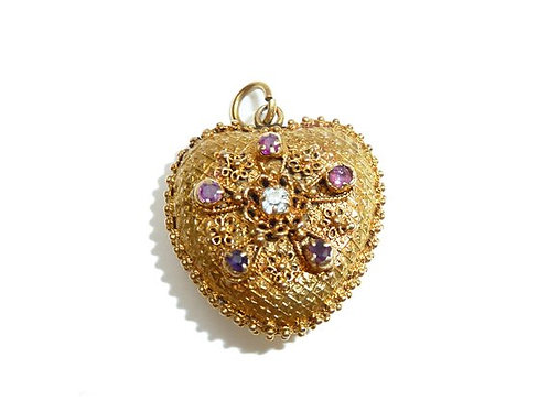 Georgian 15 Carat Locket Heart With Garnet And Diamond Flower Detail