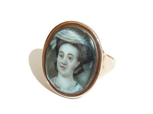 A Georgian Portrait Miniature Ring - Lady In A Lace Hat