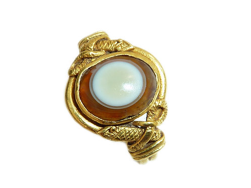 Early Banded Agate And Double Shoulder Snake Ring In High Carat Gold