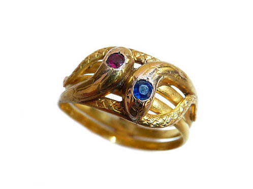 Victorian High Carat Gold Snake Ring With Red And Blue Stones