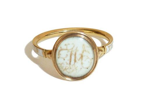 Georgian 18ct Mourning Ring With White Enamel And Hair Monogram Face 1771
