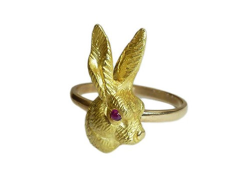 Victorian 18 Carat Gold Hare Head Ring With Ruby Eyes