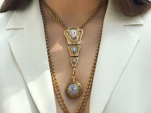 Three Col Gold French Chatelaine