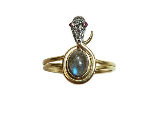 Victorian Labradorite And Diamond 18 Carat Snake Ring