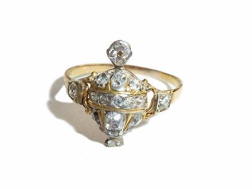 Delicate Georgian 18 Carat Gold And Diamond Urn Ring