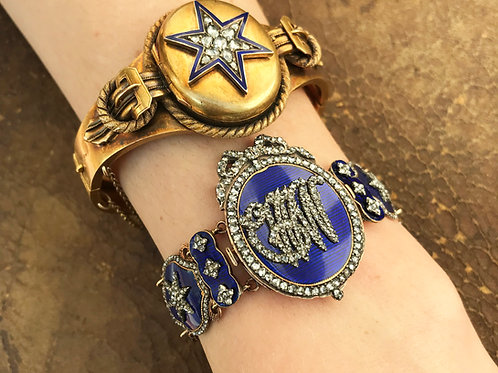 Rare Blue Guilloche Enamel And Rose Cut Diamond Bracelet/Pendant With Star And B