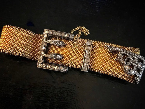 French 18 Carat Gold And Diamond Buckle Bracelet