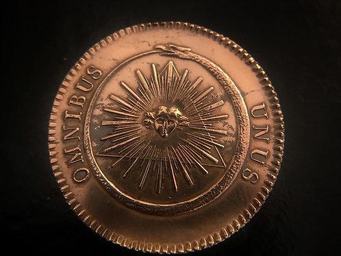 Antique Masonic Ouroboros Copper Token