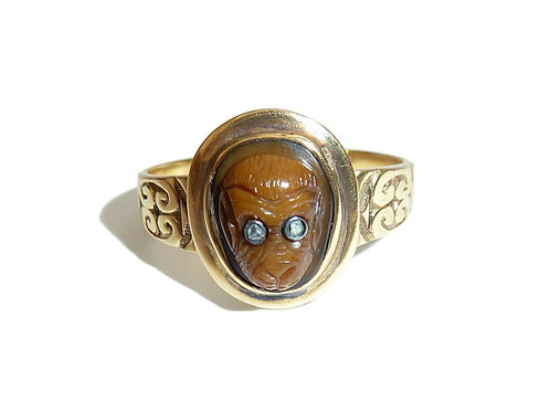 Rare Victorian Monkey Ring Carved From Agate With Diamond Eyes