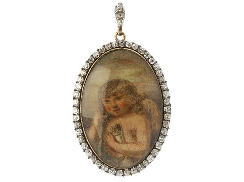 Antique Mourning Pendant Depicting Cupid