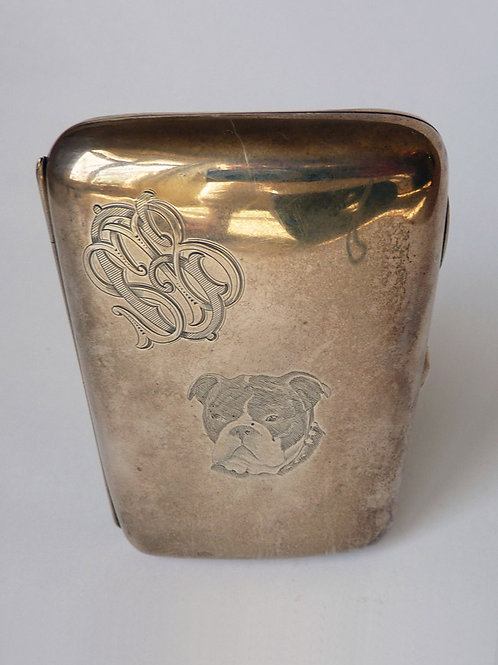 Sterling Silver Cigar Case with Etched Bulldog