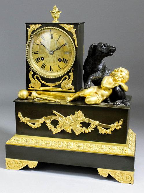 19C French ormolu and bronzed cased mantel clock b