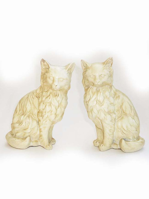 Pair Of Old Chalk-ware Plaster Cats