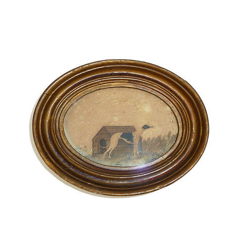 Framed Antique Painting Of A Greyhound Outside His Kennel