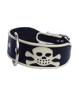 Pirate Leather Dog Collar