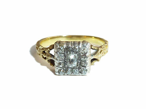 Charming Square Shaped Georgian Ring Set With Old Cut Diamonds