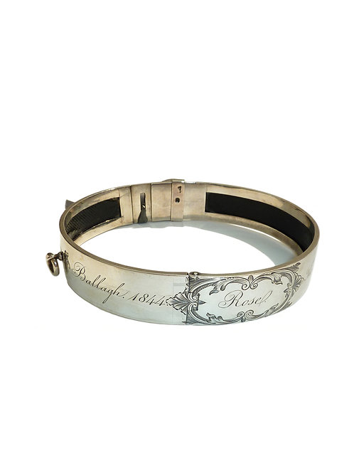 Victorian Silver And Leather Dog Collar, Thomas Diller, London 1845