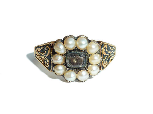 Early Victorian Mourning Ring With Natural Pearl Border About A Mourning Hair Pa