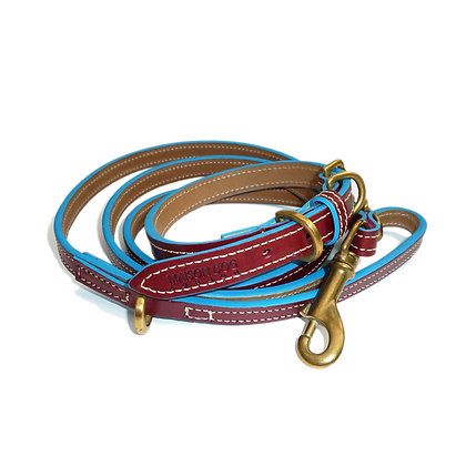 Maison Dog Lead - Oxblood/Turquoise