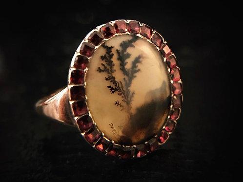 Georgian Dendritic Agate And Flat Cut Garnet Ring