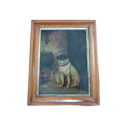 Victorian Oil On Canvas Of A Pug 'Anticipation' Signed SB - Framed - Unglazed