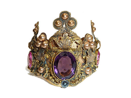 Antique French Yellow MetaL Crown Cuff With Amethyst Coloured Paste Stones