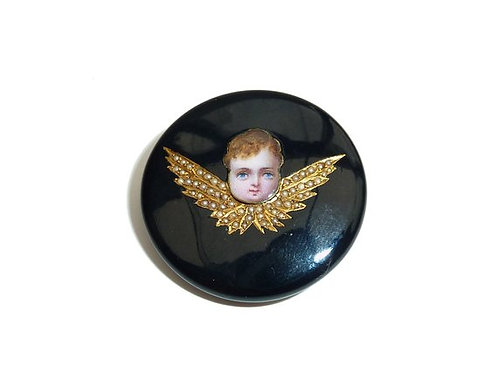 Victorian Onyx Winged Cherub Brooch With Enameled Face, Seed Pearl & Gold Wings