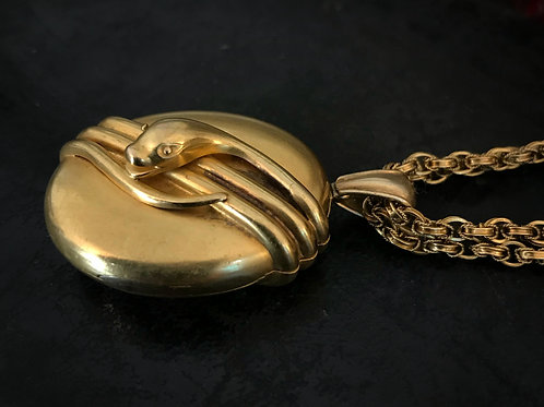 Victorian 18 Carat Bloomed Gold Locket With Three Dimensional Snake Wrapped Arou