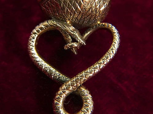 Antique Georgian/Early Victorian Ouroboros Snake Fob Coiled As A Heart With Carn