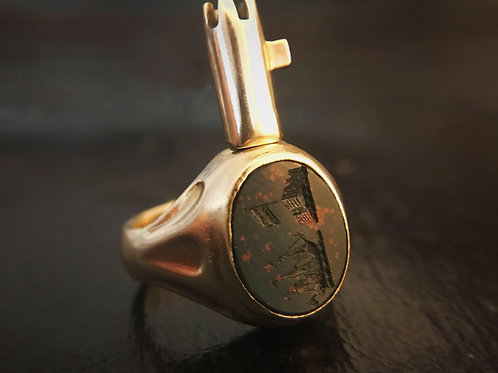Early Victorian 18 Carat Secret Key Ring - Bloodstone Intaglio With Ship - Mont
