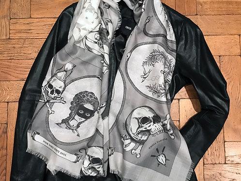 Large Wool And Silk Twill Georgian Motto Scarf