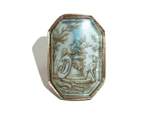 Georgian Sepia Ring With A Scene Of Two Lovebirds On Plinth With Seated Hound